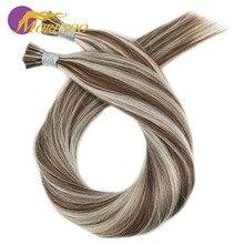Moresoo, накладные волосы на кератиновых пластинах, натуральные человеческие бразильские волосы Remy, подчеркивающие цвет, Предварительно Связанные волосы, 50 г/50 S