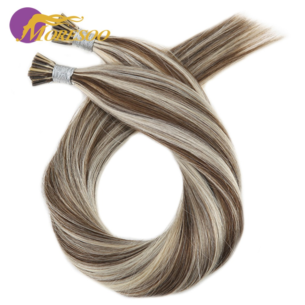 Moresoo I Tip Hair Keratin Fusion Extensions Real Remy Human Brazilian Hair Highlight Color Pre-bonded Hair 50G/50S