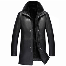 2018 New Men's Jacket Leather Shearling Winter Warm Velvet jaqueta de couro Leather Jacket Men chaqueta moto hombre, M-3XL