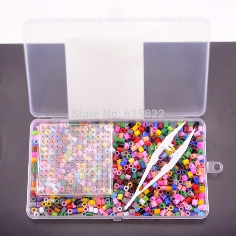 5mm Perler Beads Fuse DIY Educational Craft (1000Beads+Tweezer+Square Pegboard +iron paper) Mixed Colors Beads EVA Material craft