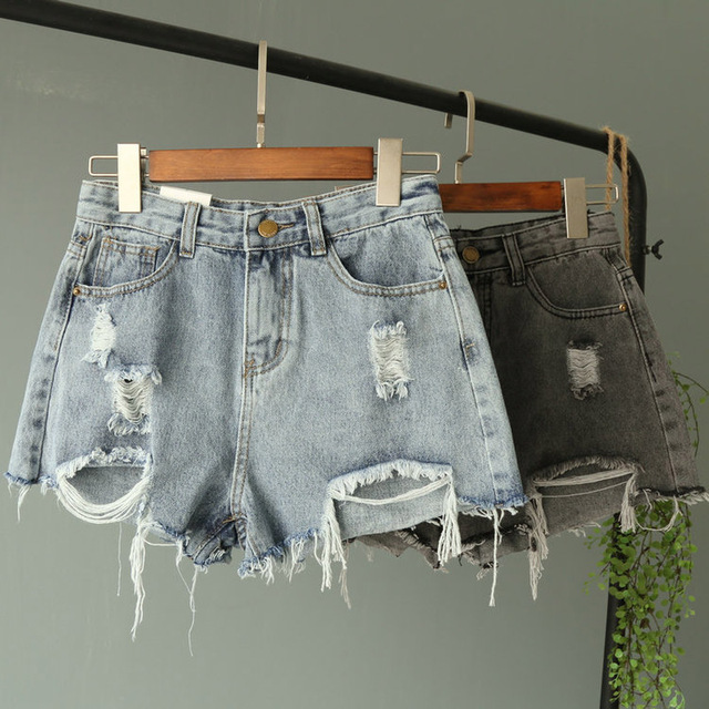 2018 New Jean Shorts Women Summer High Waisted Hole Denim Shorts Female Button Short Summer Wide Leg Slim Sexy Shorts Plus Size