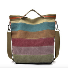 New Arrival Kvky Large Locket Patchwork Color Handbags Canvas Bag Stitching Shoulder Portable Diagonal Package For Women