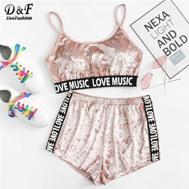 Dotfashion Pink Letter Printed Tape Detail Crushed Velvet   Pajama     Set   Women 2019 Summer Casual Home Clothes Sleeveless Nightwear
