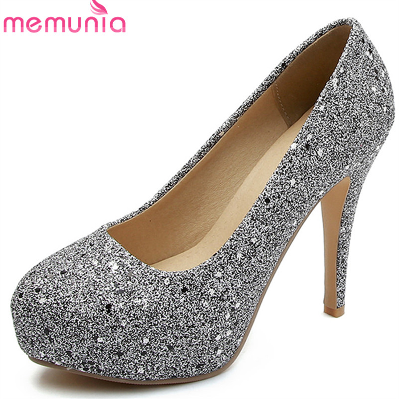 MEMUNIA 2018 hot women pumps elegant gold silver fashion shoes shallow round toe party wedding shoes sexy thin heel shoes woman ms noki elegant silver new 2017 thin heel pointed toe women shoes sexy party dress fashion shoes comfortable sweet shoes hot
