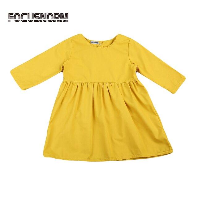 cd6540ca1 Adorable Baby Girl Beautiful Dress Kids Girls Autumn Long Sleeve Sweet  Artistic Solid Crewneck Loose Dress 1-5Y