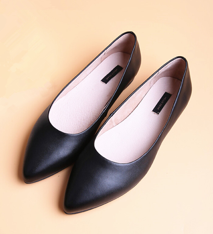 Genuine Leather Flats Womens Shoes Ladies Sheepskin Women Flats Suede Shoes Woman Pointed Toe Ballet Flats