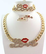 Free Shipping Golden Fashion Red Sexy Lips Rhinestone Crystal Love Chunky Chain Necklace Bracelet Earring Jewelry Set