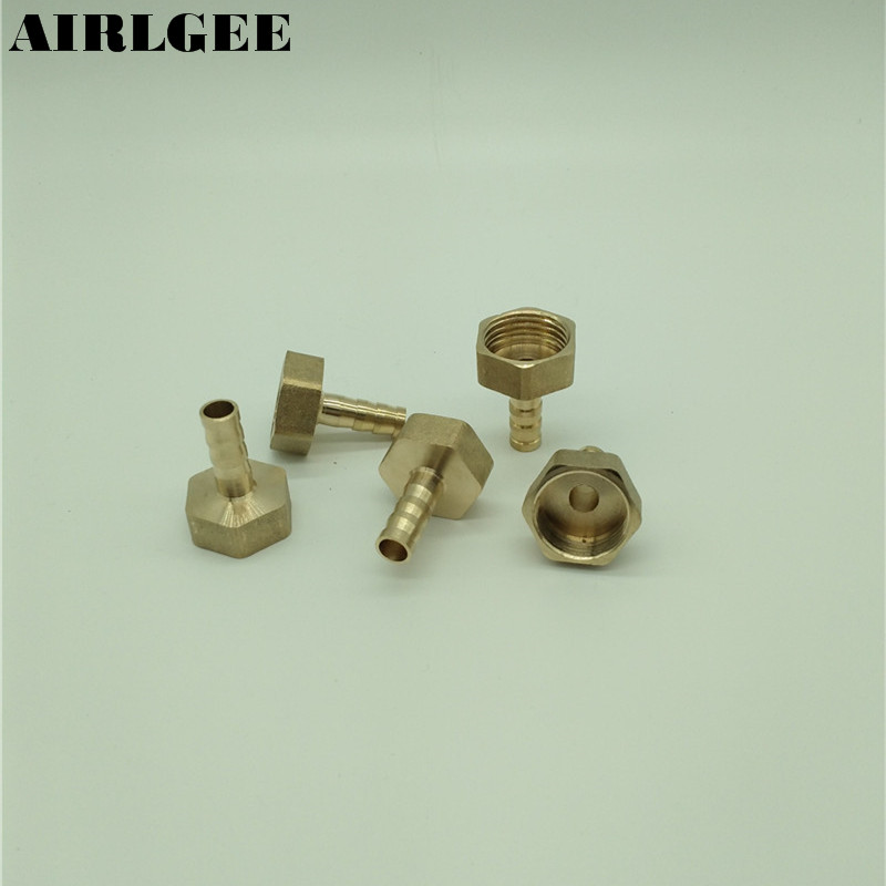 5 Pcs 1/2PT Female Thread to 8mm Air Hose Barb Brass Straight Fitting Connector 5 pcs pneumatic air hose fitting 10mm brass straight barb adapter coupling