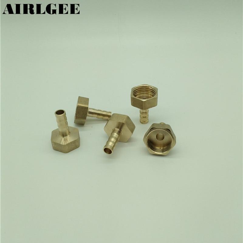 цена на 5 Pcs 1/2PT Female Thread to 8mm Air Hose Barb Brass Straight Fitting Connector