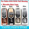 Para nokia 6310i mercedes-benz logotipo de alta qualidade novo caso tampa da caixa completa completo de telefonia sem teclado + ferramentas gratuitas grátis