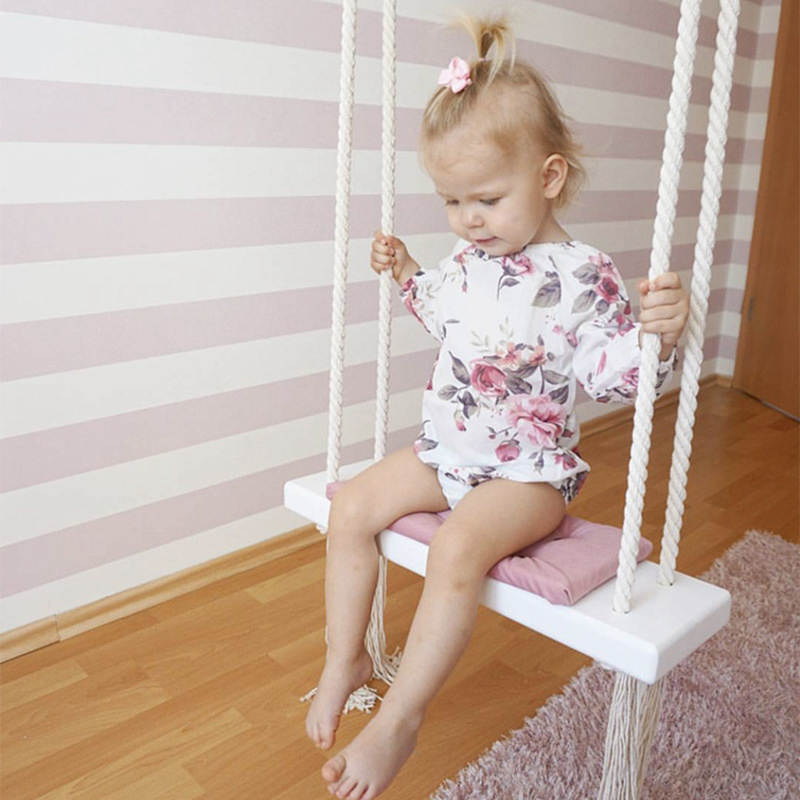 D Baby Swing Chair Hanging Swings Set Children Rocking Solid Wood Seat with Cushion Safety Baby Spullen Indoor Baby Room Decor