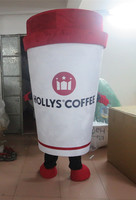 2017 high qualityHot Sale Custom made Deluxe white Coffee cup mascot costume Party special