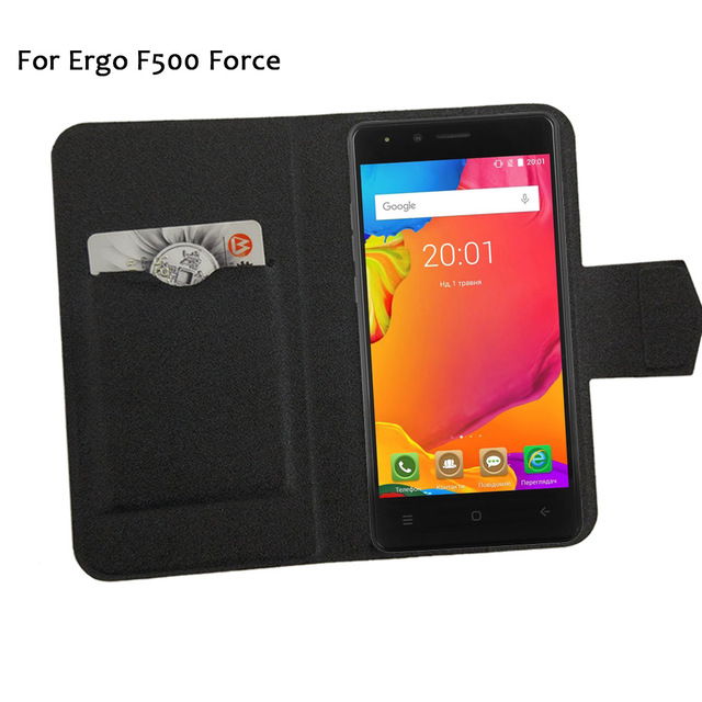 5 Colors Hot! Ergo F500 Force Phone Case Leather Cover Fashion Luxury Full Flip Stand Leather Phone Cases