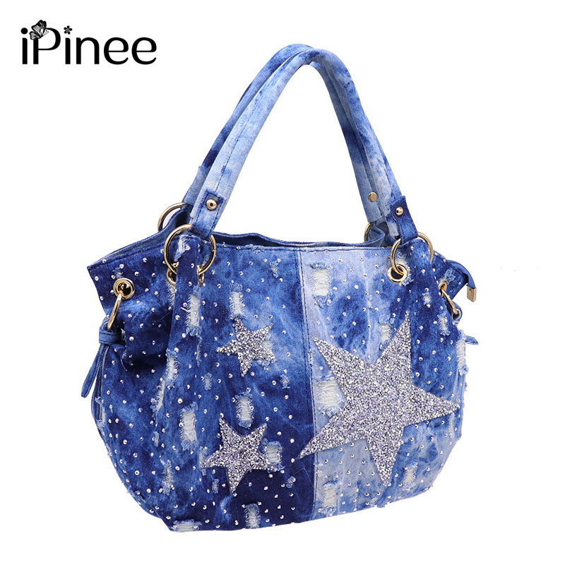 iPinee brand women washed denim handbag female shoulder crossbody bag design hobos top handle tote bag