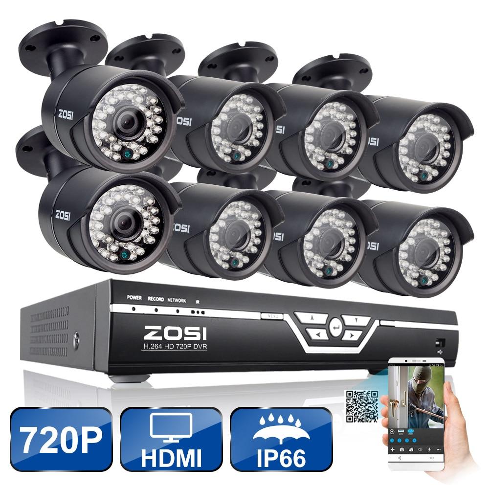 ZOSI 8CH CCTV System 720P HDMI AHD 8CH CCTV DVR 8PCS 1.0 MP HD IR Security Camera 1500 TVL CCTV Camera Surveillance System Kit zosi 8ch cctv system 720p ahd dvr hdmi 4pcs 720p ir night vision outdoor cctv camera home security system surveillance kits