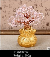 Lucky tree Holiday gifts natural rose quartz crystal gem money tree in for wealth money bay
