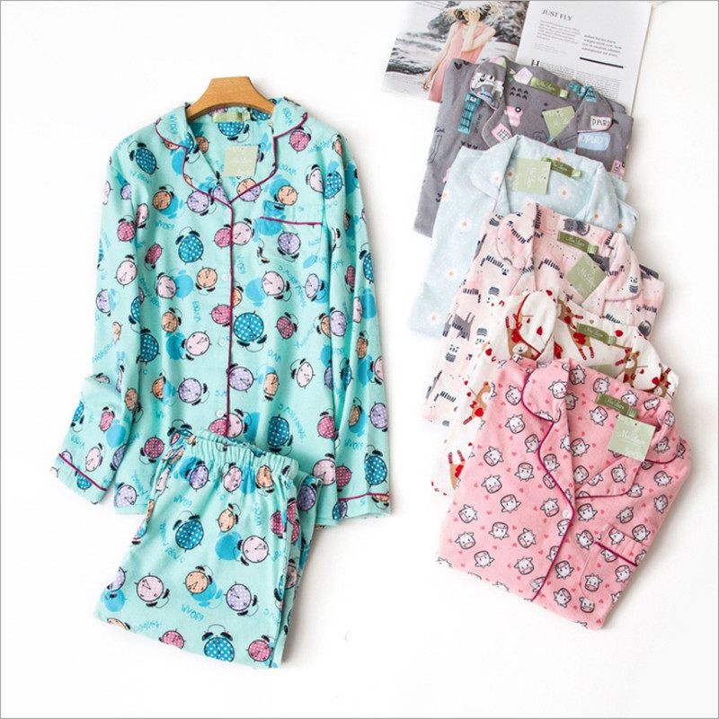 New arrival Autumn winter women's   pajama     sets   cute cartoon elephent cars rabbits cakes daisy printed brief pyjamas for ladies