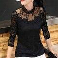 2015 Новый Осень Женщина Рубашки ShirtsCollar Полный Рукав Тонкий Женской Одежды Корейский Шнурок Основные Blusa Для Элегантных Женщин