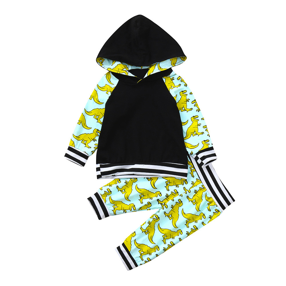 2PCS Newborn Infant Baby Boy Cartoon Dinosaur Hoodie Tops+Pants Outfits Clothes