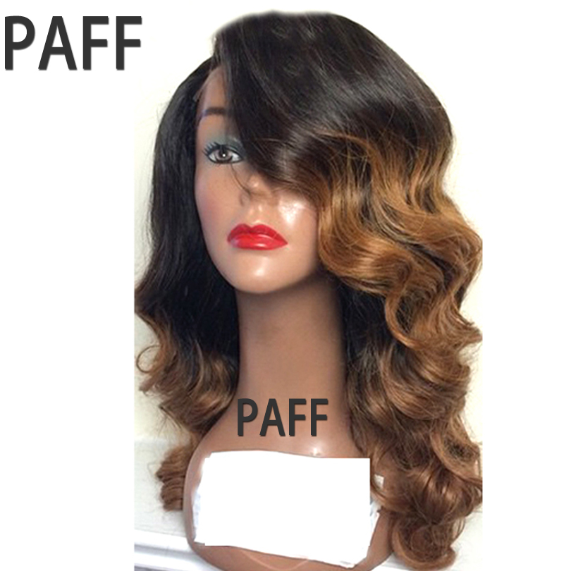 PAFF Ombre Glueless Lace Front Wigs Human Hair Brazilian Virgin Hair Body Wave Wigs #1BT8 Color Pre Plucked Hairline For Women