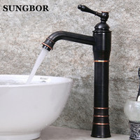 Wholesale And Retail Modern Antique Brass Bathroom Basin Faucet Vanity Sink Mixer Tap Countertop Faucet Hot