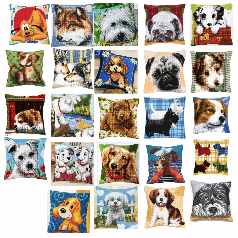 Dog 3 style Cross Stitch Pillow Mat DIY Craft Tapestry Pillow 42CM by 42CM Needlework Crocheting Cushion Embroidery