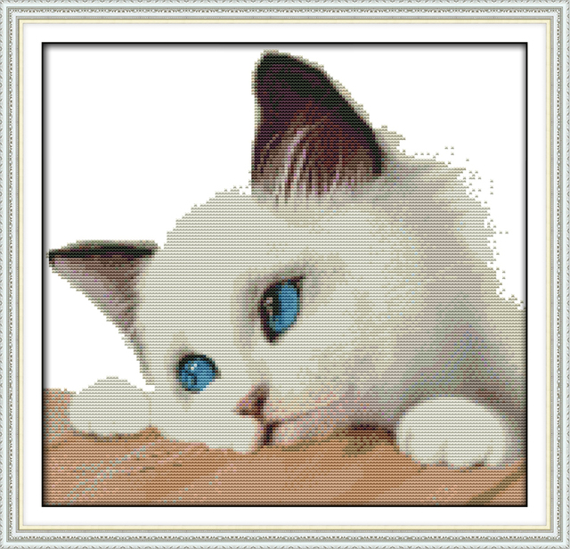 Joy Sunday Animal Style Blue Cat Counted Cross Stitch Patterns Free Printable For Wholesale Online Store