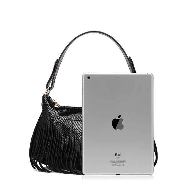 REALER brand fashion women genuine leather bag serpentine pattern shoulder bag female tassel evening handbag Ladies hobos