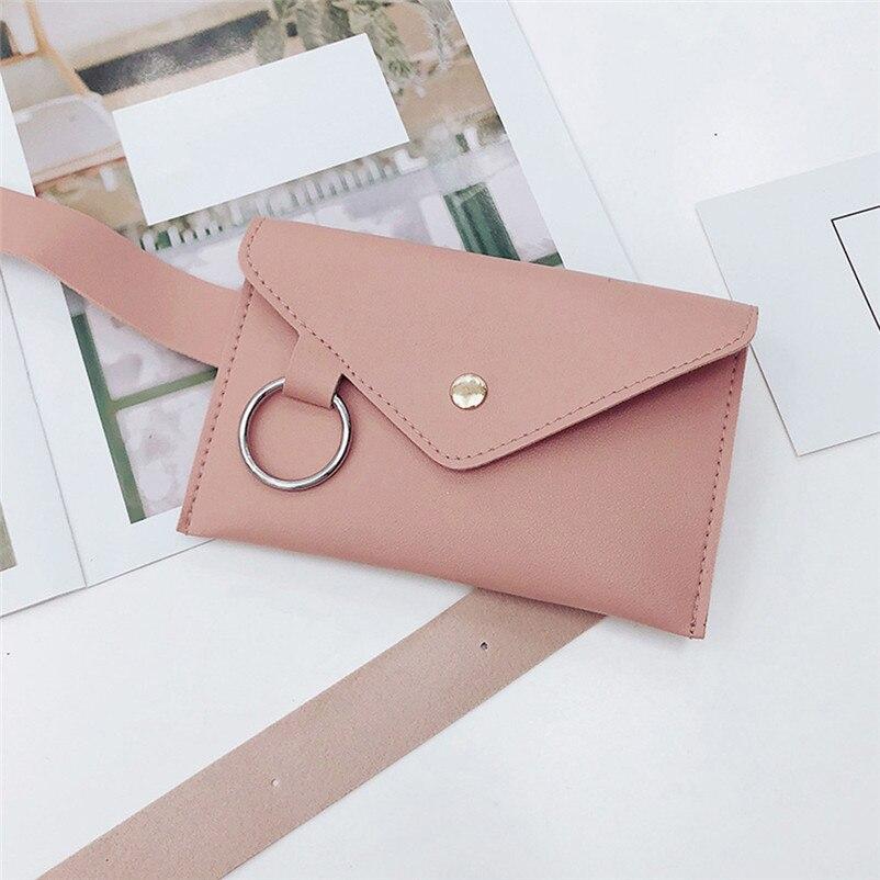 2018 Fanny Pack Women Belt Bag Leather Waist Bag Fashion Women's Pure Color Ring PU Messenger Shoulder Chest Pochete Homem