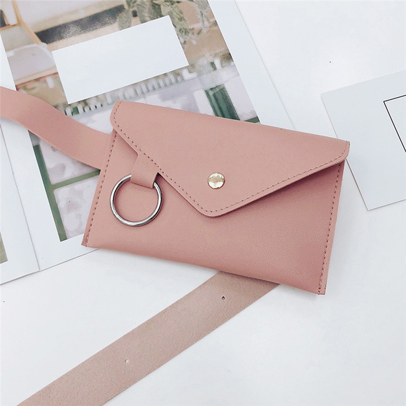 2018 Fanny Pack Women Belt Bag Leather Waist Bag Fashion Women's Pure Color Ring PU Messenger Shoulder Chest Pochete Homem