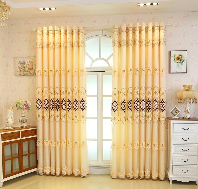 European double curtain high grade embroidered window screen in Curtains from Home Garden