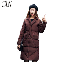 Large sized loose down cotton dress women's pure color jacket winter new Korean version light and thin