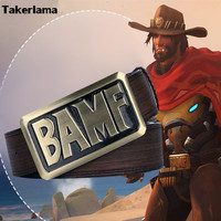 Takerlama New Game OW Mccree Belt Cosplay PU Casual Waistband Buckle Waist Strap Anime Cosplay Costume Sashes