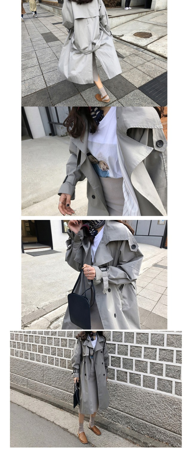 Abrigos Spring Autumn 18 Korean Fashion Double Breasted Mid-long Trench Coat Mujer Loose Belt large size Windbreak Outwear 10