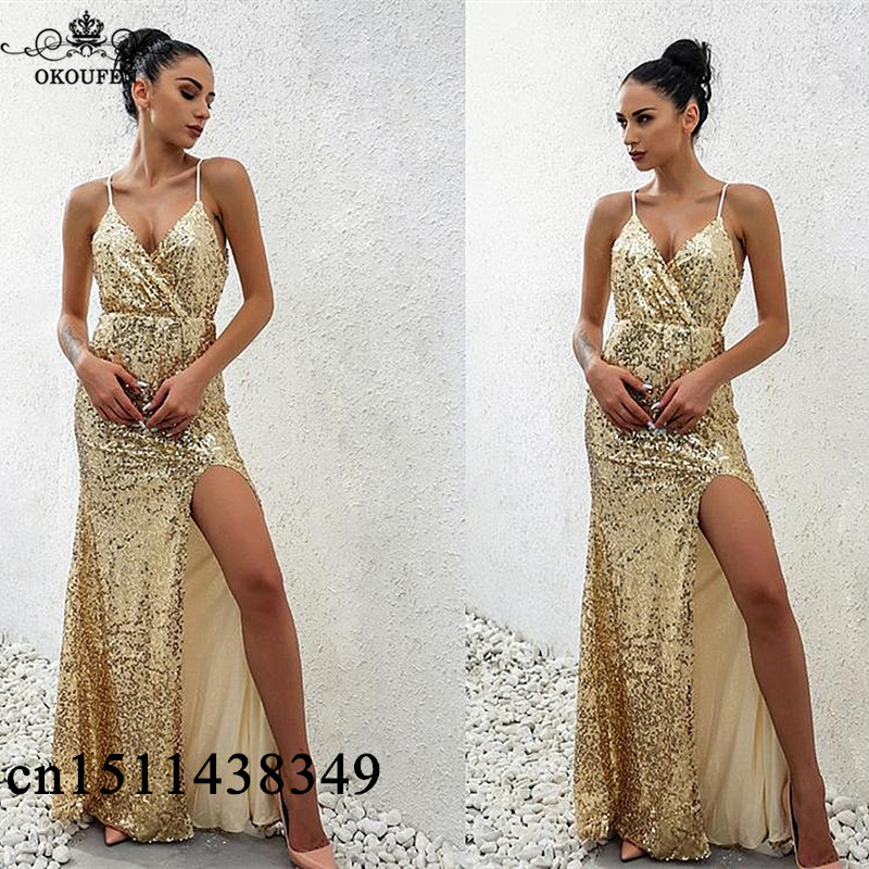 Sexy Side Split Long Mermaid   Prom     Dresses   2019 Spaghetti Strap Sequined Long Evening   Dress   Party For Women