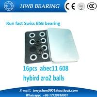 10 Bags 160pcs Abec11 Zro2 Hybrid Ceramic 608 Inline Skate Bearing 608 2rs Skateboard Speed Skate