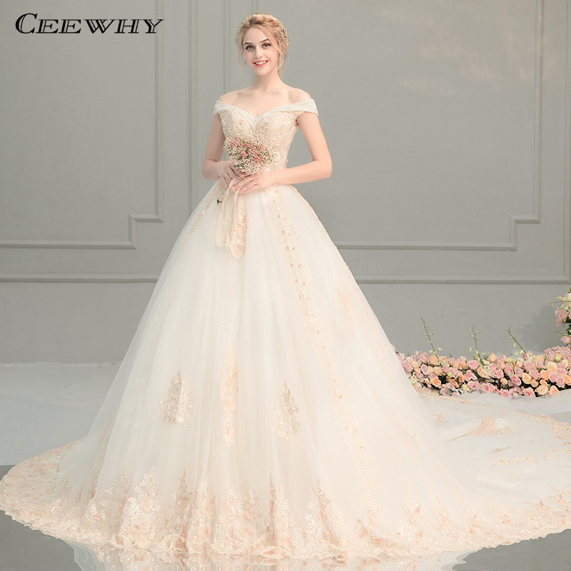 6e0cf9d611 CEEWHY V-Neck Sexy Lace Ball Gown Wedding Dresses 2019 Applique Beaded  Flowers Chapel Train Bride Gown Vestido De Noiva ~ Free Delivery July 2019