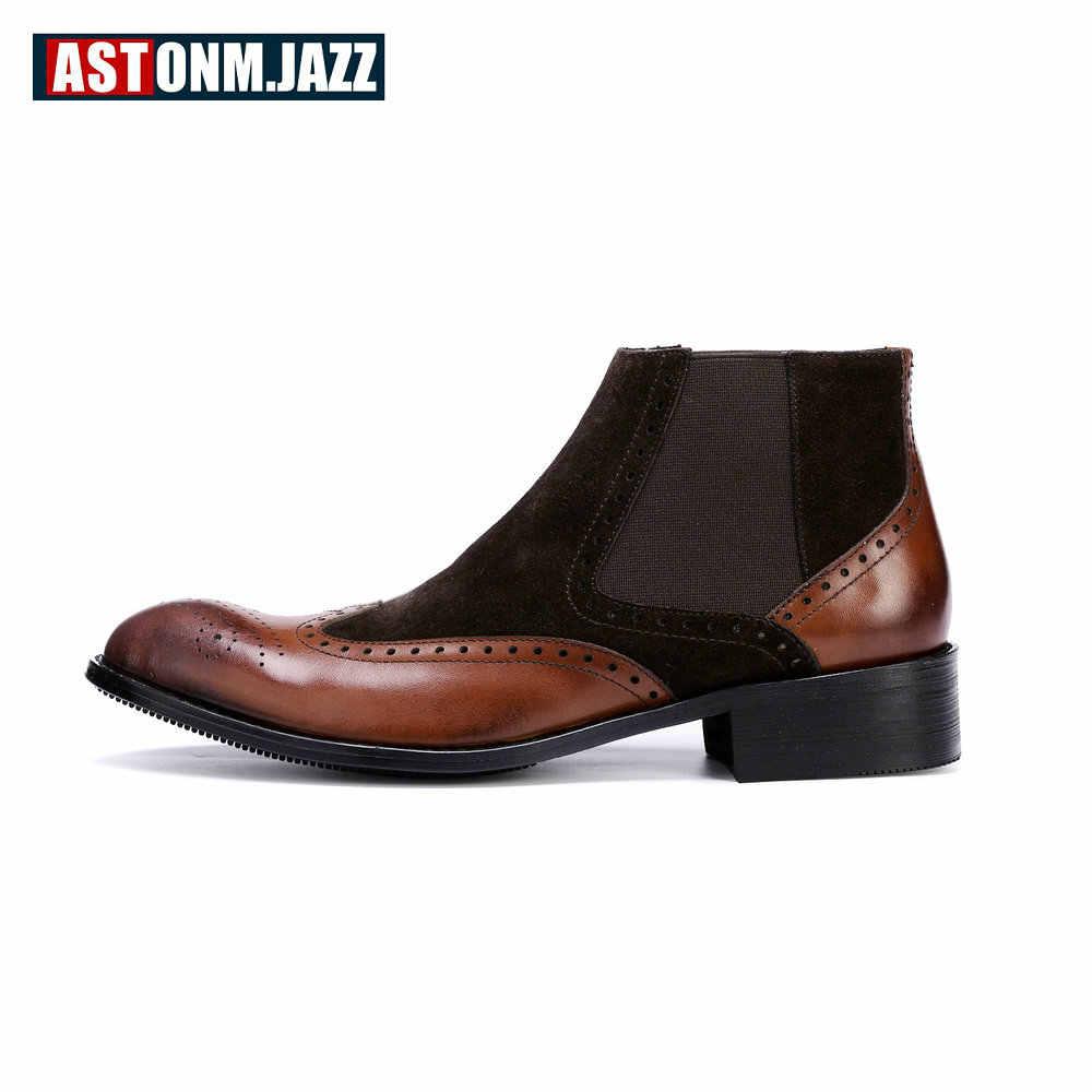 Мужская обувь с перфорацией типа «броги»; кожаные ботинки «Челси» с натуральным лицевым покрытием; мужские ботильоны с круглым носком; зимняя обувь; европейские размеры 45; US 6-11