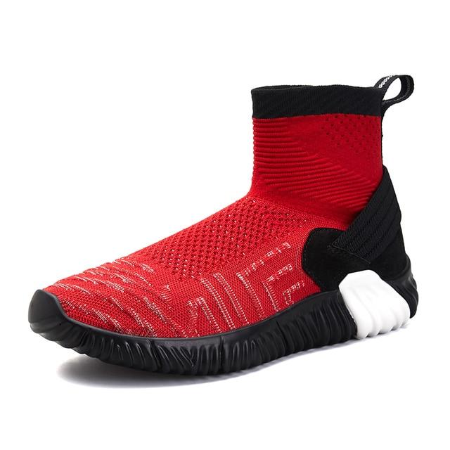 Дышащие кроссовки с сеткой для Для мужчин Лидер продаж модные носки-как в тапочках красные, черные кроссовки спортивная обувь размеры 39–44