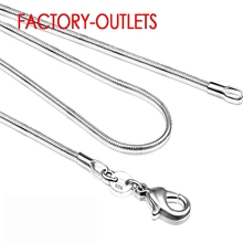 1PC Jewelry Findings 16-30 Necklace 925 Silver 1.2MM Snake Chain Lobeter Clasp Jewellery For Pendant Women