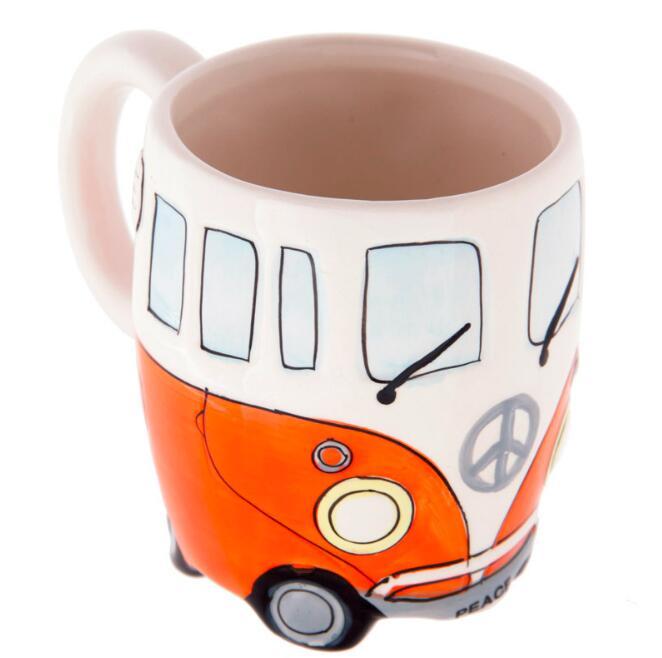 400ml Creative Hand Painting Double Bus Mugs Retro Ceramic Cup Coffee Milk Tea Mug Drinkware Novetly Gifts