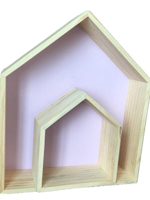 2 Pcs/Set Hook Type Storage Holders Children s Room Decorated Cute Wooden House Kids Room Organization Home Storage