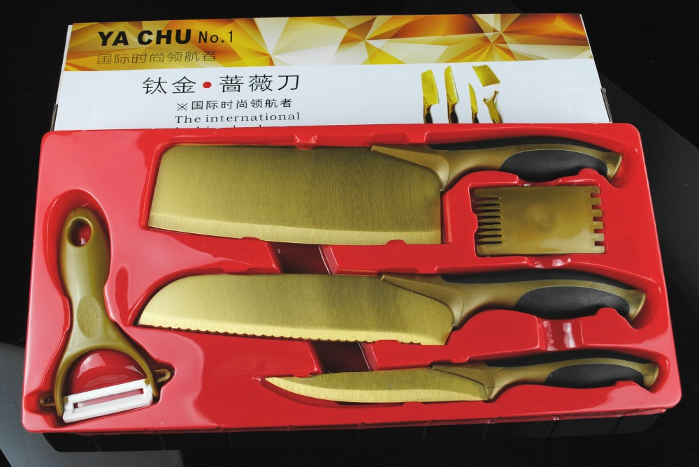 50 OFF promotion stock 5pcs gold titanium kitchen knife Utility Chef chop knives set with plastic