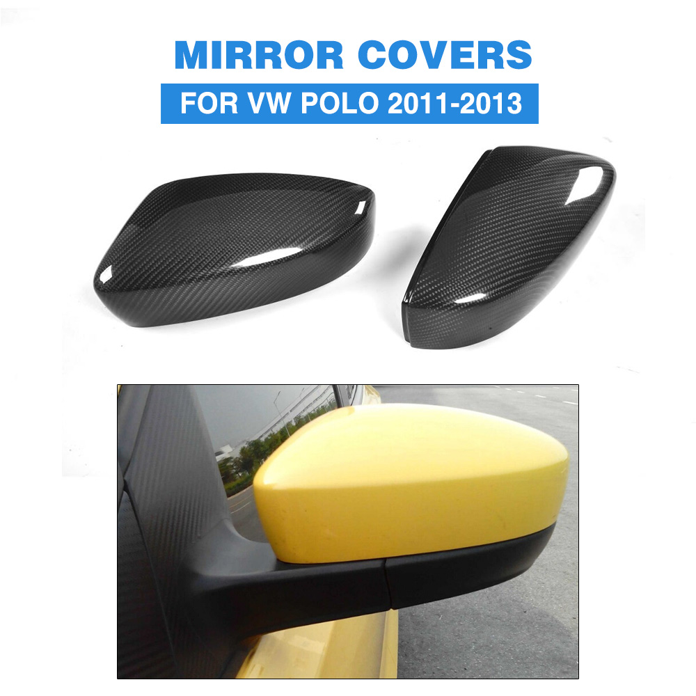 Carbon fiber Black full replacement Side Mirror Covers for Volkswagen VW POLO 2011-2013