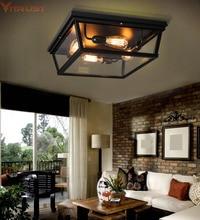 Vitrust Industrial Ceiling Lamps Loft Vintage Glass Lights Edison Bulbs Lighting Fixture Home Retro Iron Black Livingroom Bed
