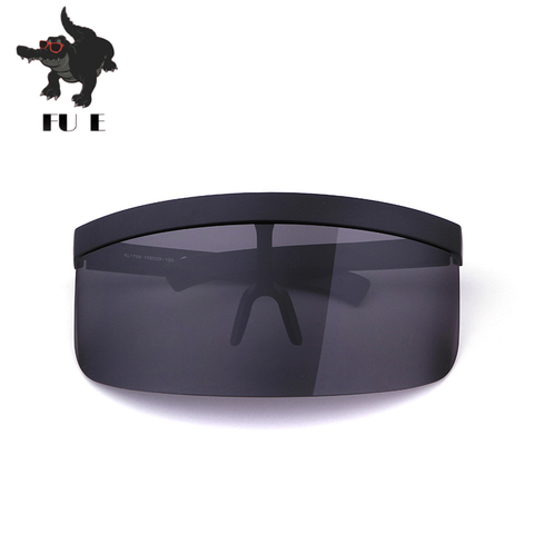 FU E Vintage Extra Oversize Shield Visor Sunglasses Women Flat Top Mask Mirrored Shades Men Windproof Eyewear Gafas de sol Multan