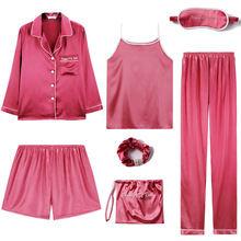 Printemps et été à manches longues Sexy Pijama glace soie 7 pièces mince Shorts costume pyjama en soie pour les femmes nuit costume maison ensembles de vêtements de nuit
