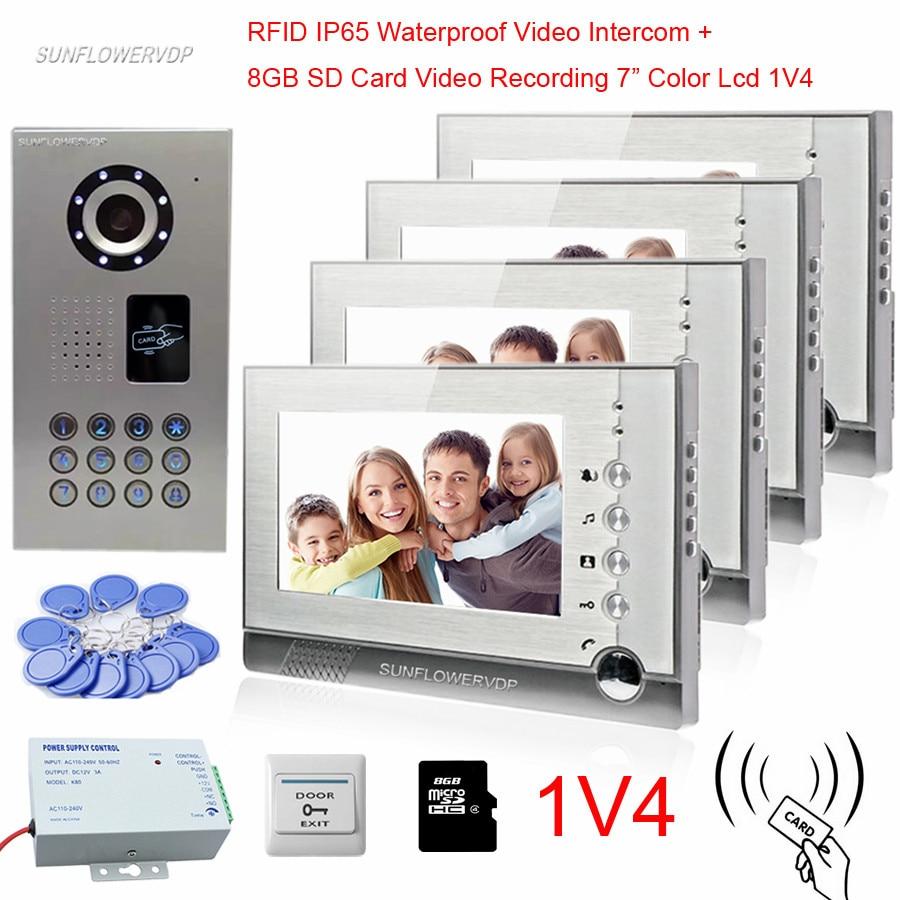 Free Shipping New 7 Color Door Monitor Video Intercom Home Door Phone Recorder System E-lock 8g Sd Waterproof Rain Cover