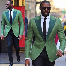 Custom Green Men Suit Wedding Suits for Men Slim Fit 2 Piece Groom Tuxedos Style Party/Prom Suits Groom Suits  (Jacket+Pants)