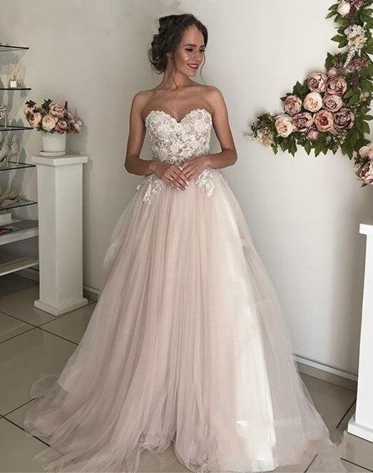 Wedding Dress 2019 Elegant Appliqued Lace Sweetheart Sweep Train Cheap Wedding Gowns A line Boho Bride